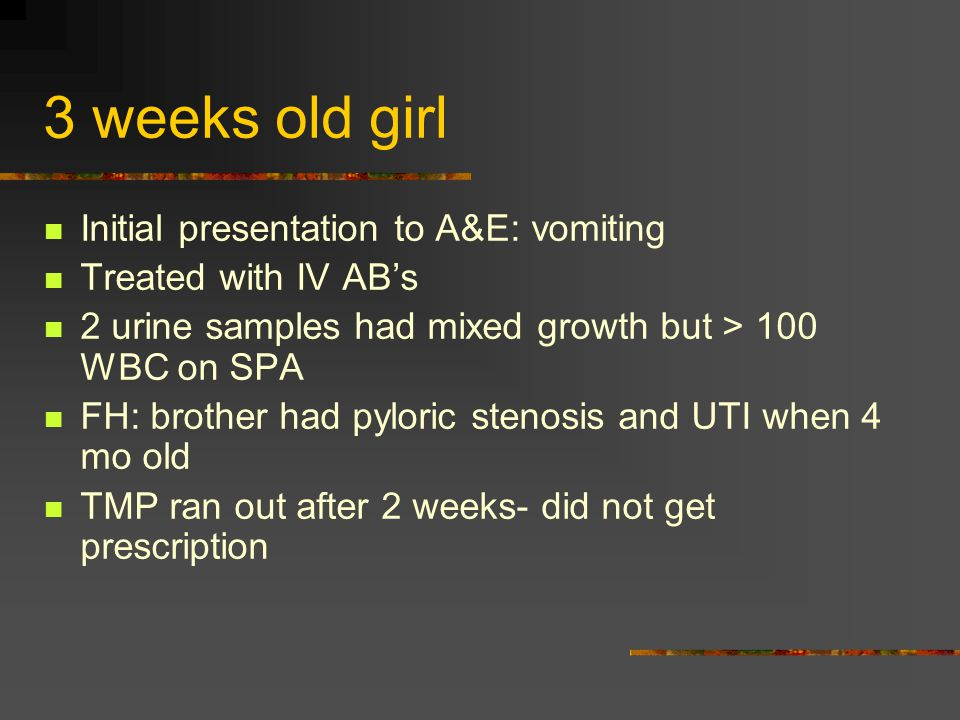 3 weeks old girl Initial presentation to A&E: vomiting