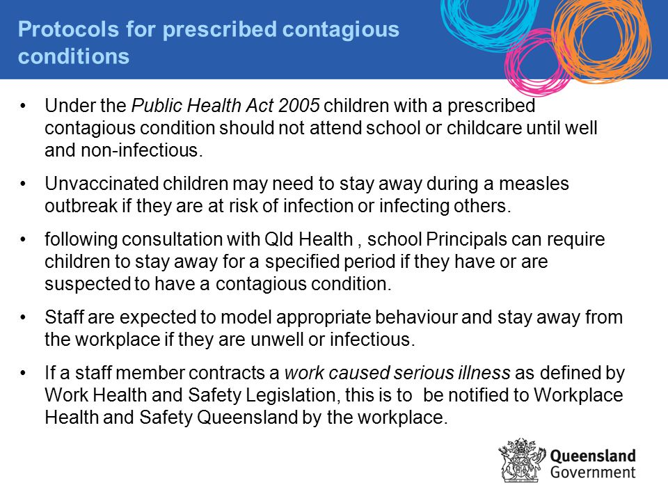 Protocols for prescribed contagious conditions