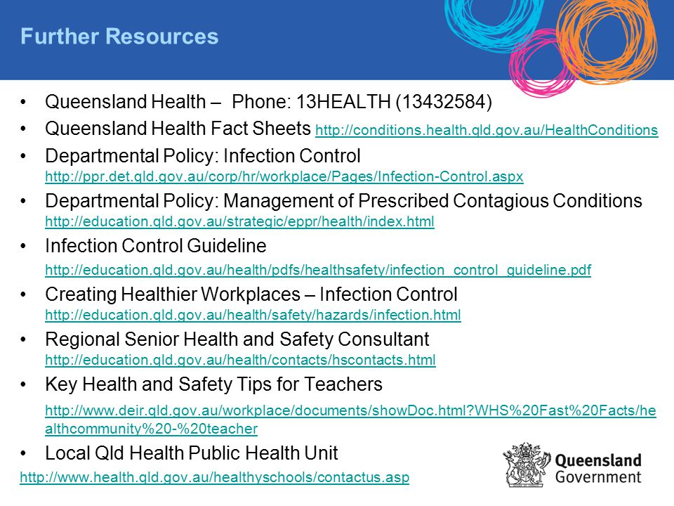 Further Resources Queensland Health – Phone: 13HEALTH (13432584)