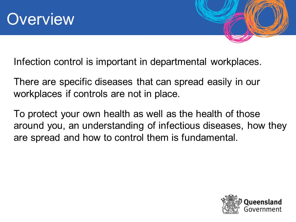 Overview Infection control is important in departmental workplaces.