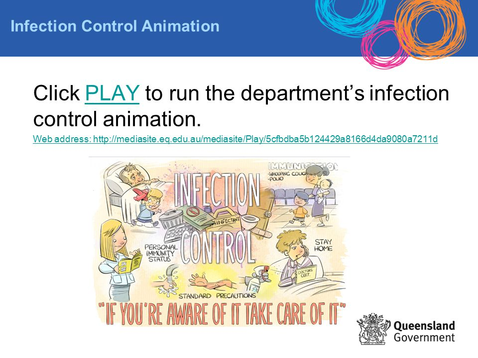 Click PLAY to run the department's infection control animation.