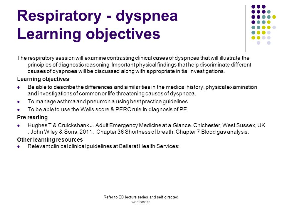 Respiratory - dyspnea Learning objectives