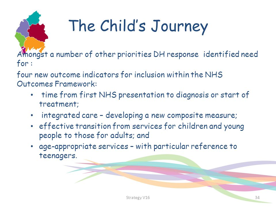 The Child's Journey Amongst a number of other priorities DH response identified need for :
