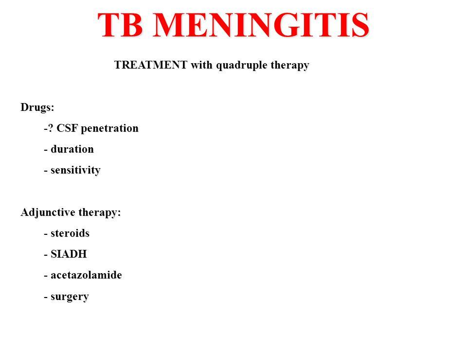 TB MENINGITIS TREATMENT with quadruple therapy Drugs: