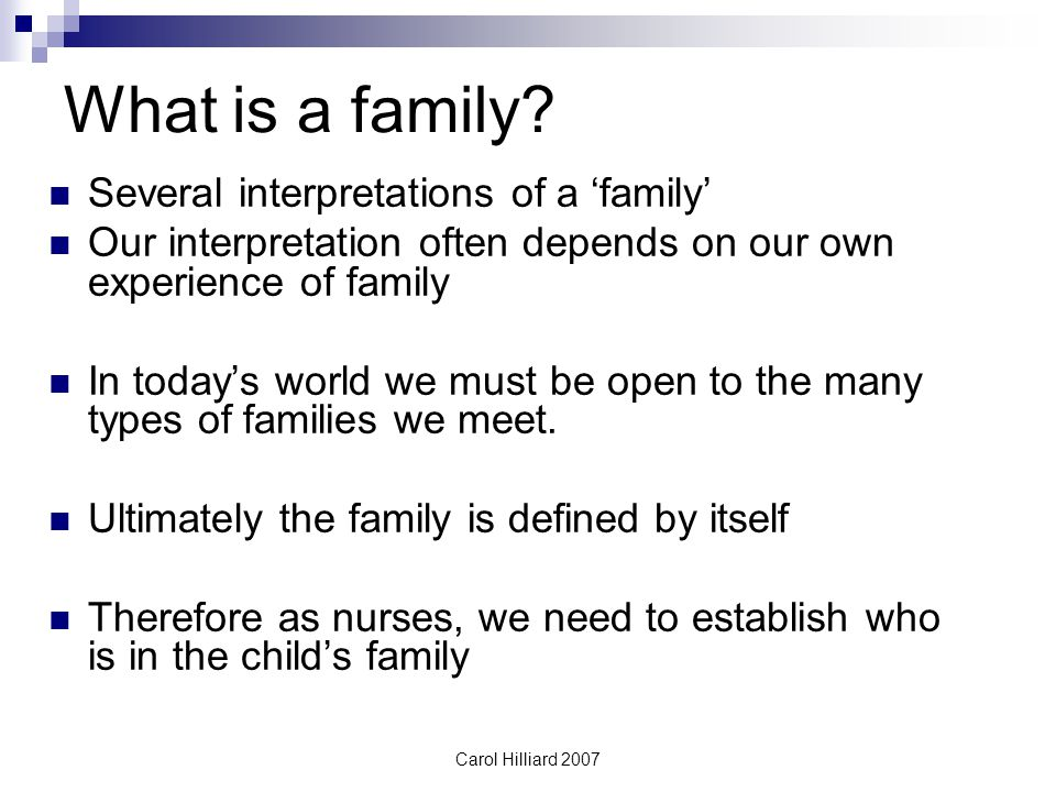 What is a family Several interpretations of a 'family'