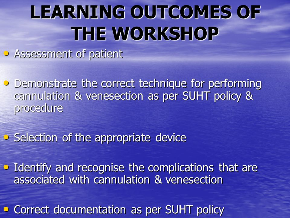 LEARNING OUTCOMES OF THE WORKSHOP