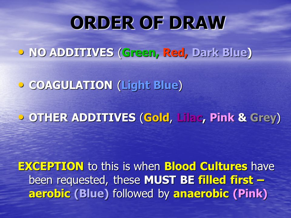 ORDER OF DRAW NO ADDITIVES (Green, Red, Dark Blue)