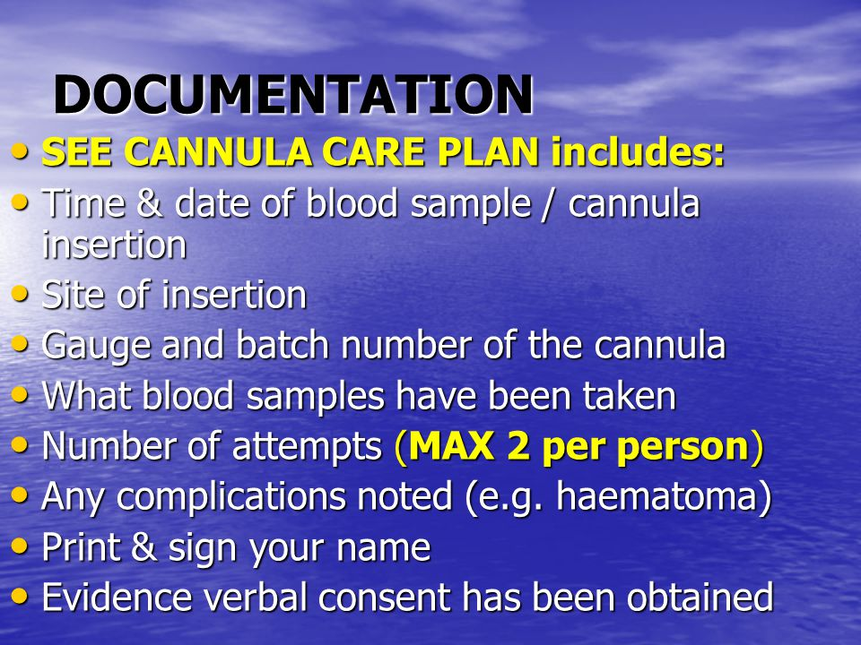 DOCUMENTATION SEE CANNULA CARE PLAN includes: