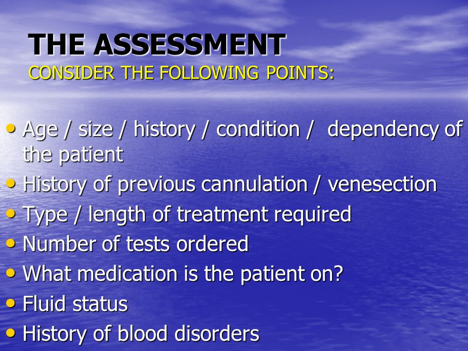 THE ASSESSMENT CONSIDER THE FOLLOWING POINTS: