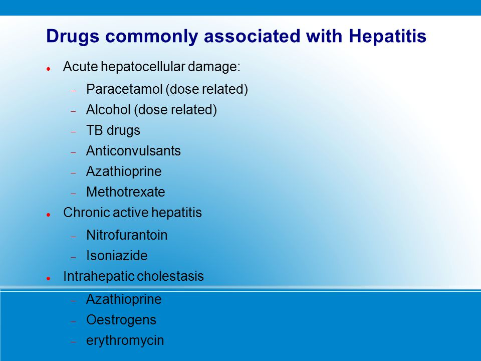 Drugs commonly associated with Hepatitis