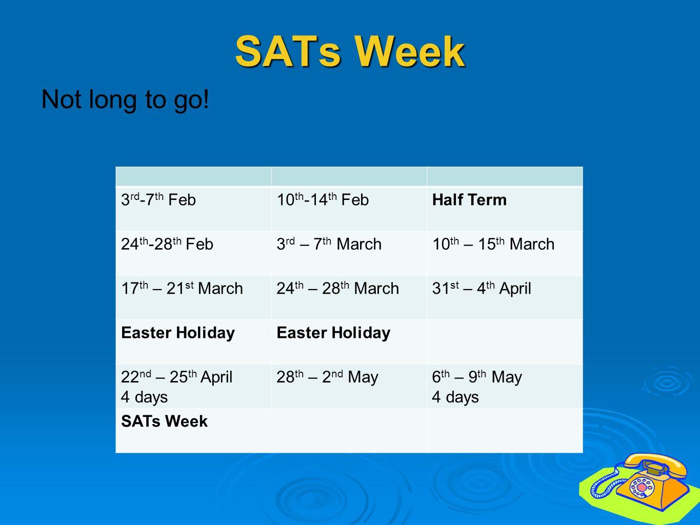 SATs Week Not long to go! 3rd-7th Feb 10th-14th Feb Half Term