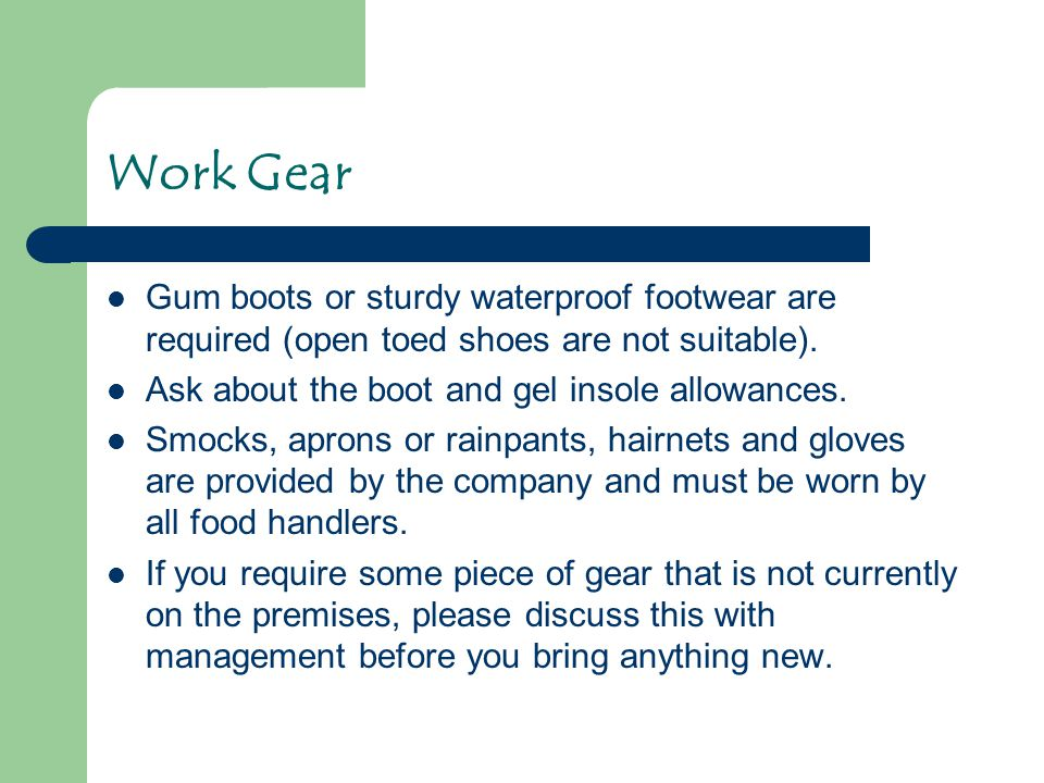 Work Gear Gum boots or sturdy waterproof footwear are required (open toed shoes are not suitable). Ask about the boot and gel insole allowances.