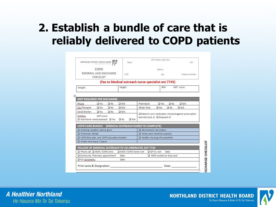 2. Establish a bundle of care that is reliably delivered to COPD patients