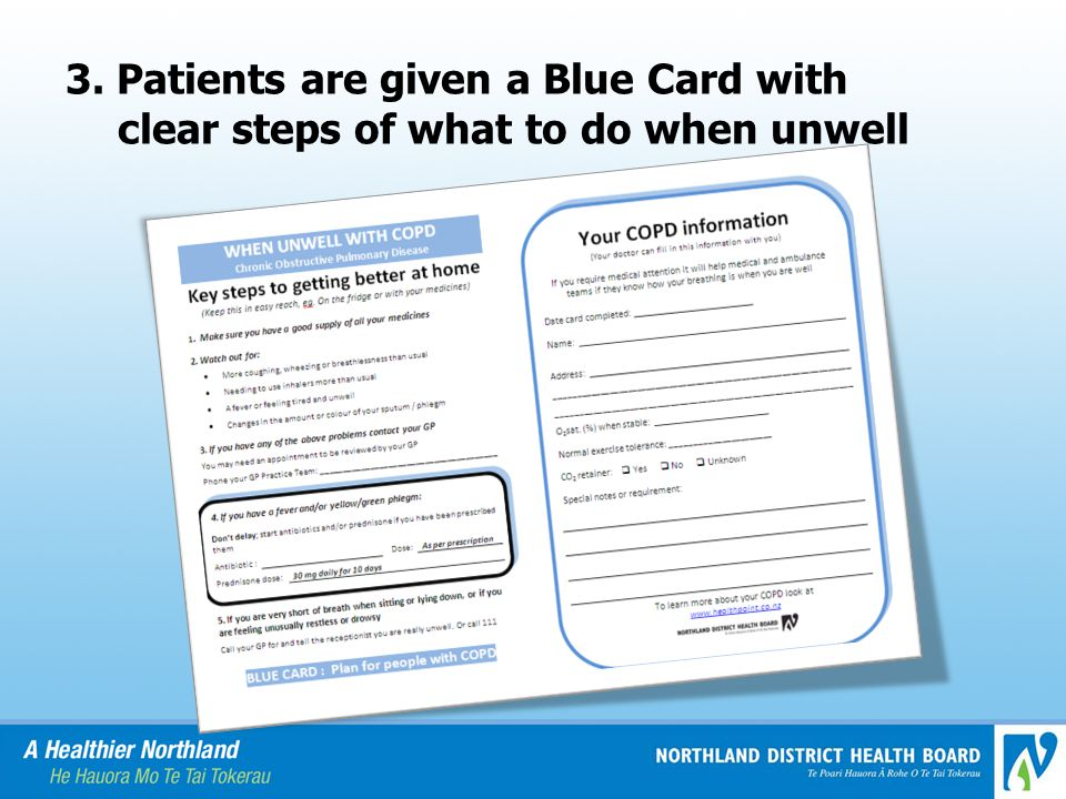 3. Patients are given a Blue Card with clear steps of what to do when unwell