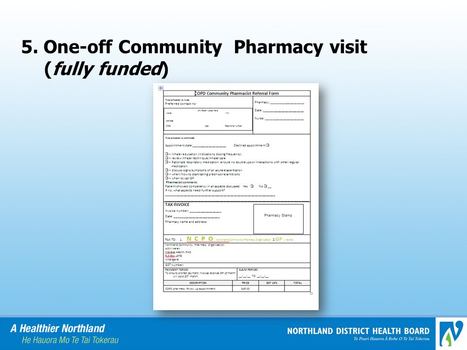 5. One-off Community Pharmacy visit (fully funded)