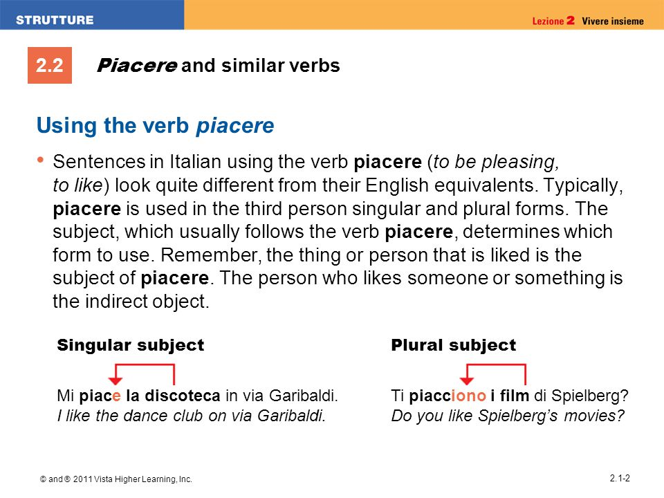 Piacere and similar verbs
