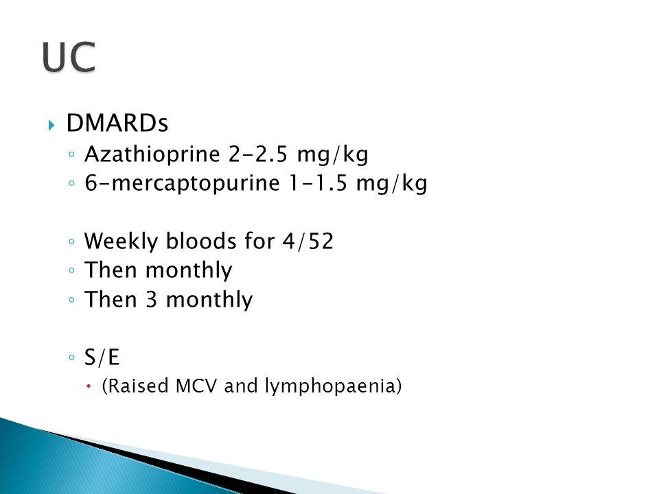 UC DMARDs Azathioprine 2-2.5 mg/kg 6-mercaptopurine 1-1.5 mg/kg