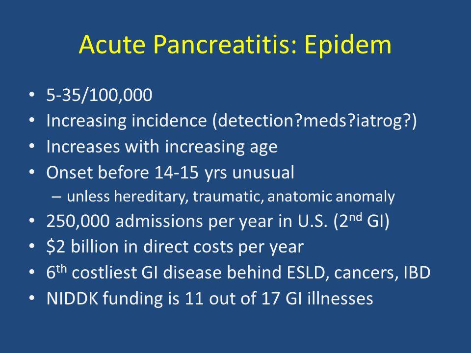 Acute Pancreatitis: Epidem