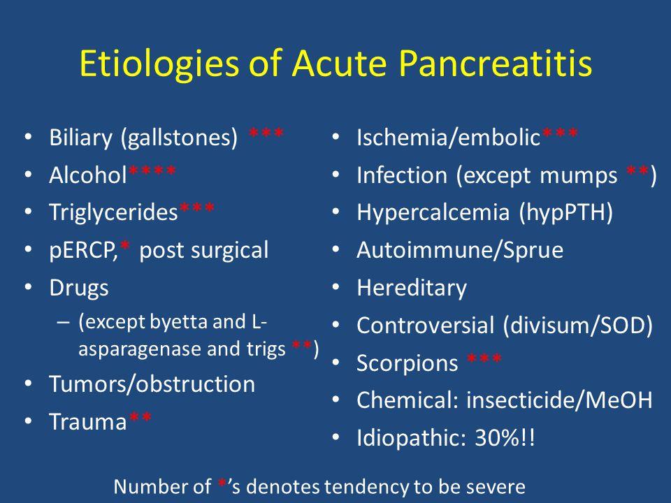 Etiologies of Acute Pancreatitis