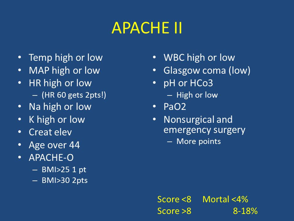 APACHE II Temp high or low MAP high or low HR high or low