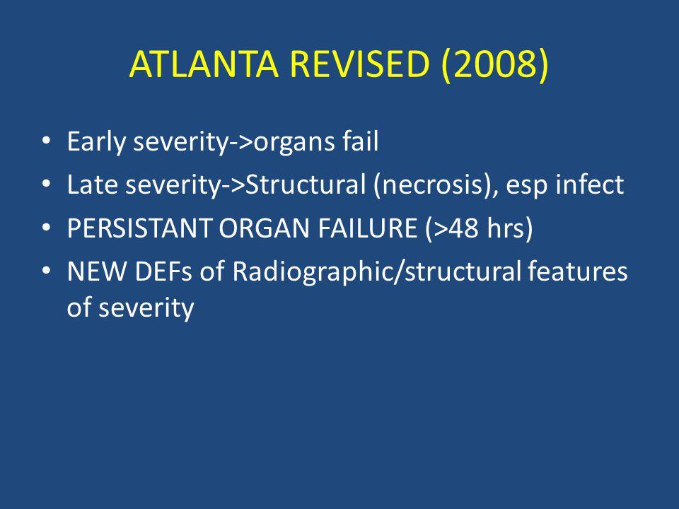 ATLANTA REVISED (2008) Early severity->organs fail
