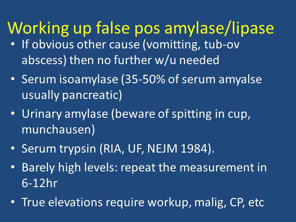 Working up false pos amylase/lipase