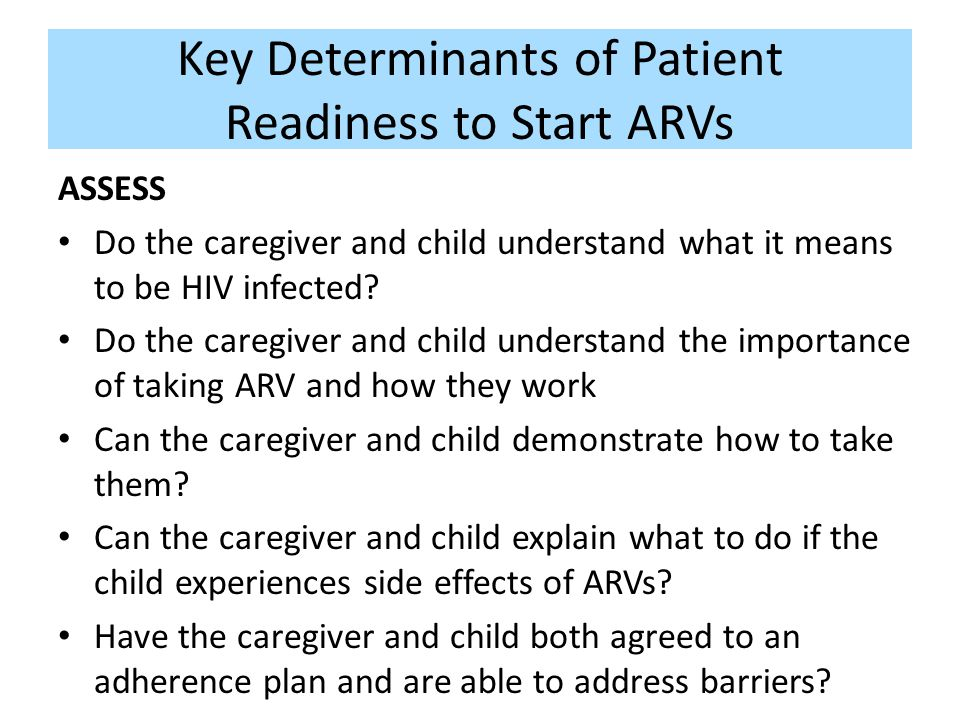 Key Determinants of Patient Readiness to Start ARVs