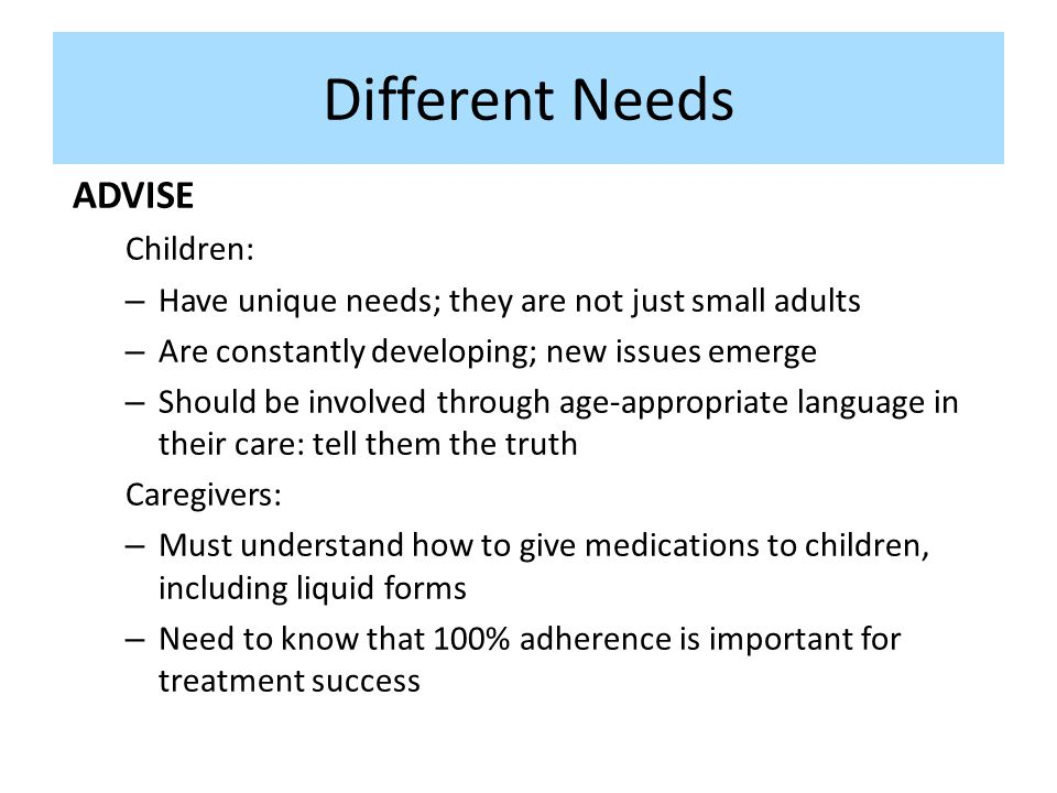 Different Needs ADVISE Children: