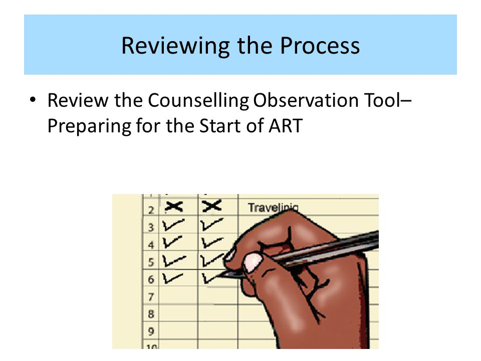 Reviewing the Process Review the Counselling Observation Tool– Preparing for the Start of ART.