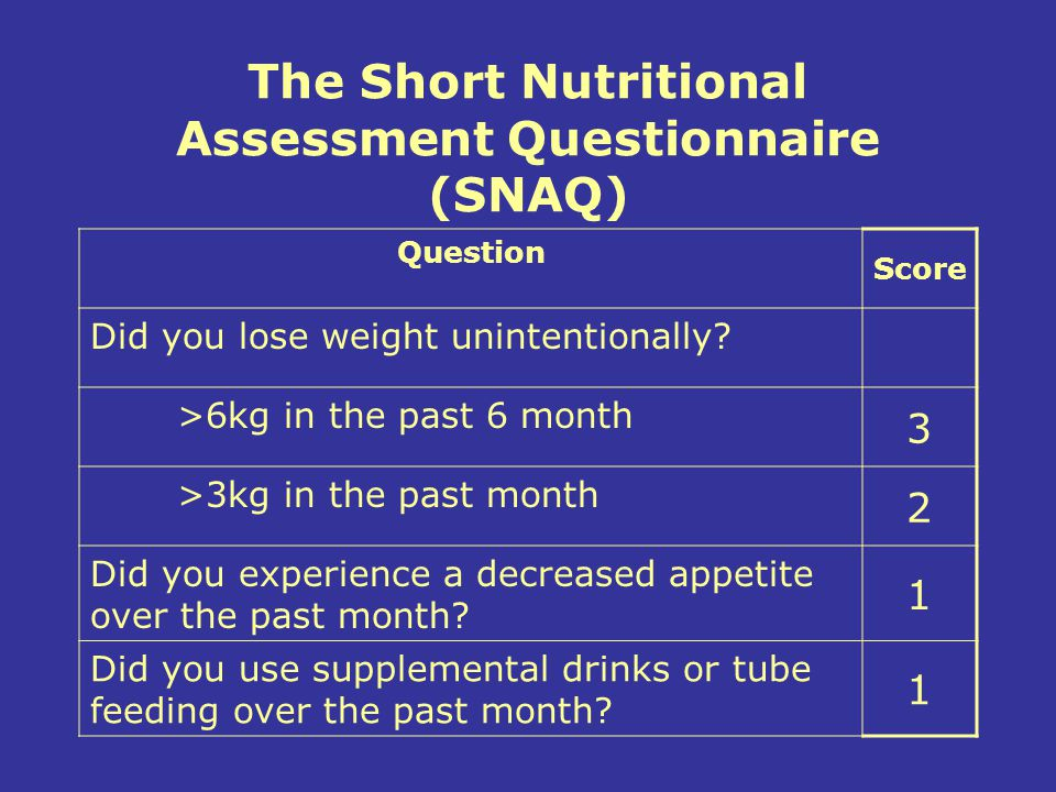 The Short Nutritional Assessment Questionnaire (SNAQ)