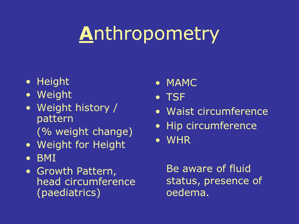 Anthropometry Height Weight Weight history / pattern (% weight change)