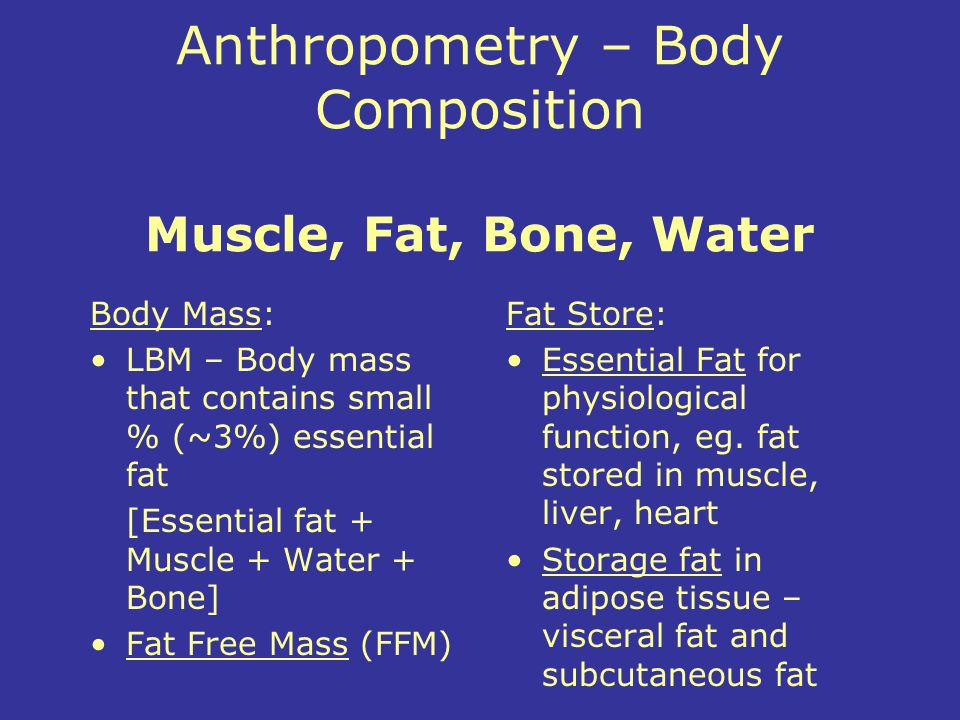 Anthropometry – Body Composition Muscle, Fat, Bone, Water