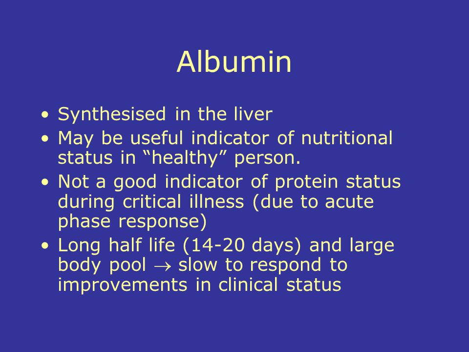 Albumin Synthesised in the liver