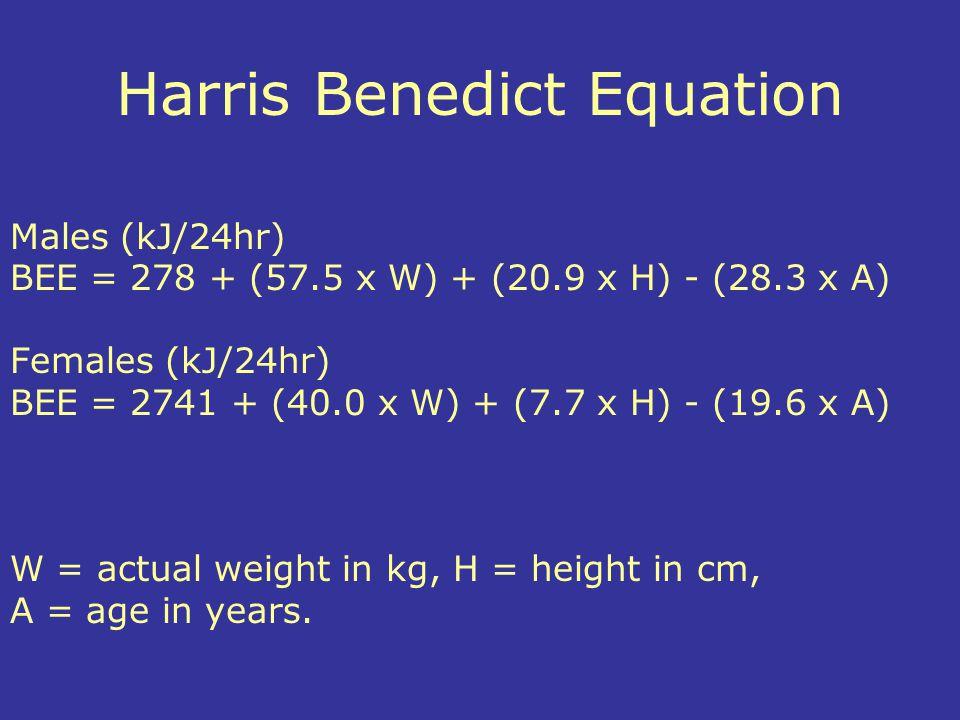 Harris Benedict Equation