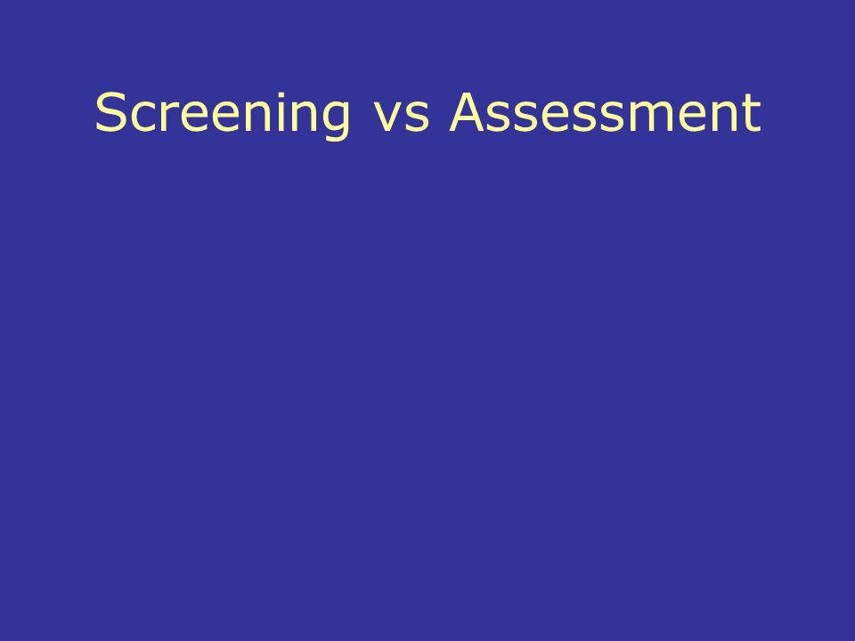 Screening vs Assessment