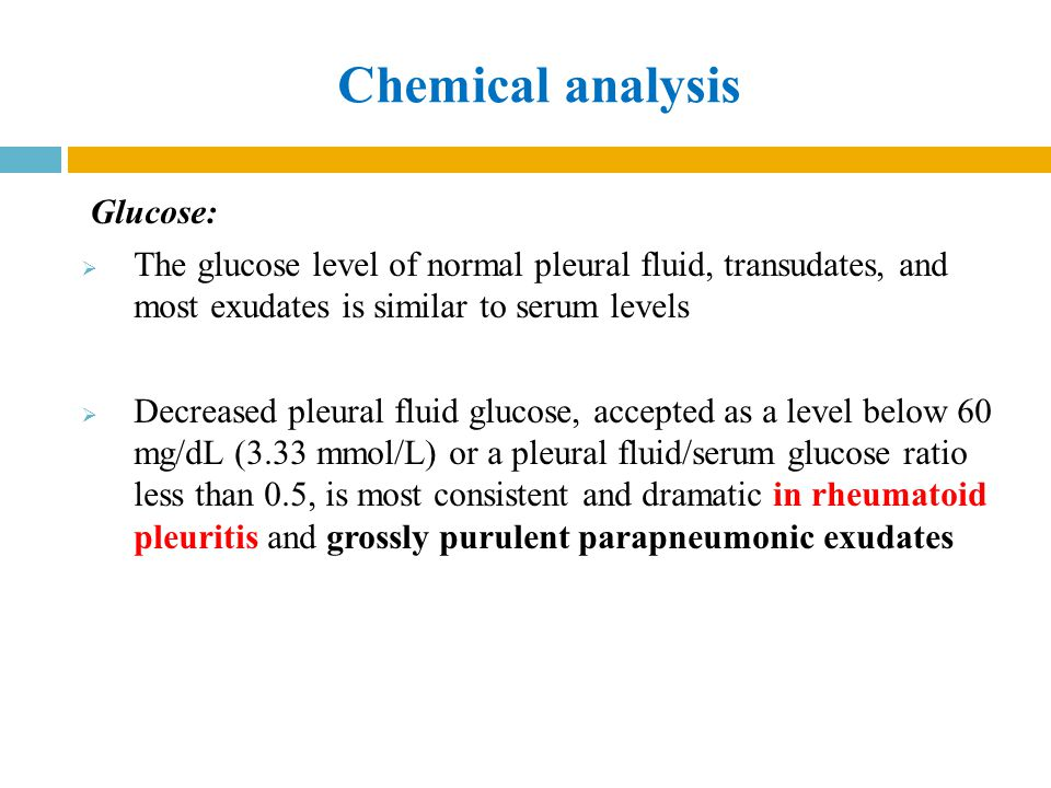 Chemical analysis Glucose: