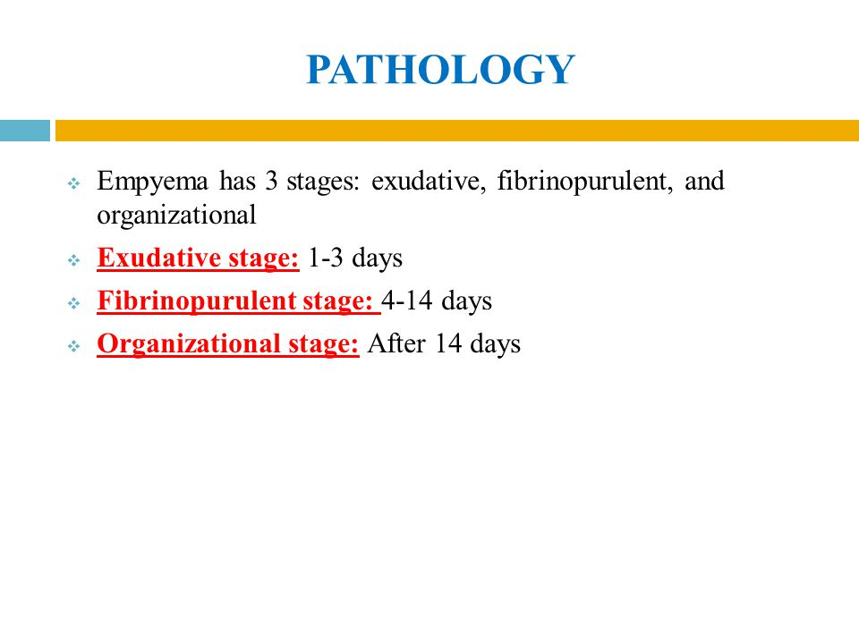 PATHOLOGY Empyema has 3 stages: exudative, fibrinopurulent, and organizational. Exudative stage: 1-3 days.