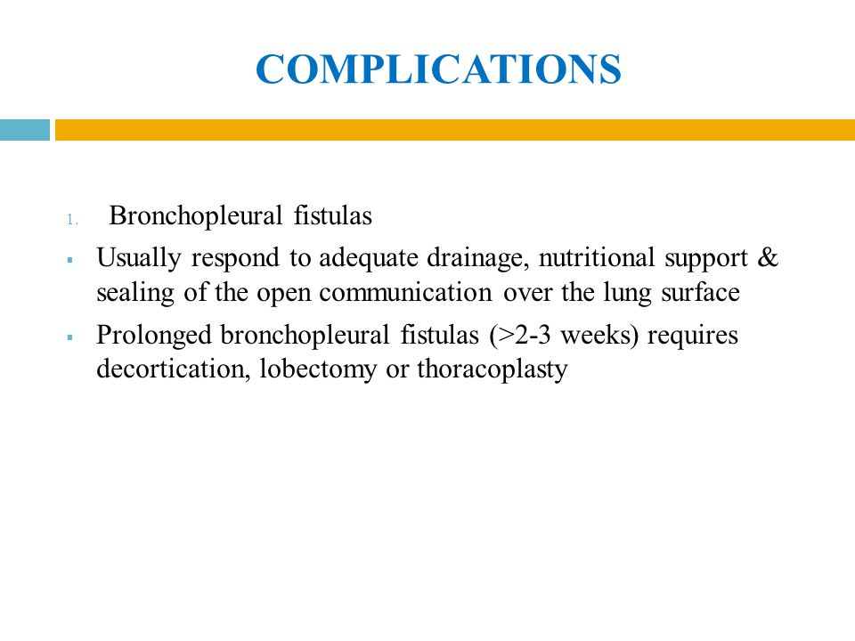 COMPLICATIONS Bronchopleural fistulas