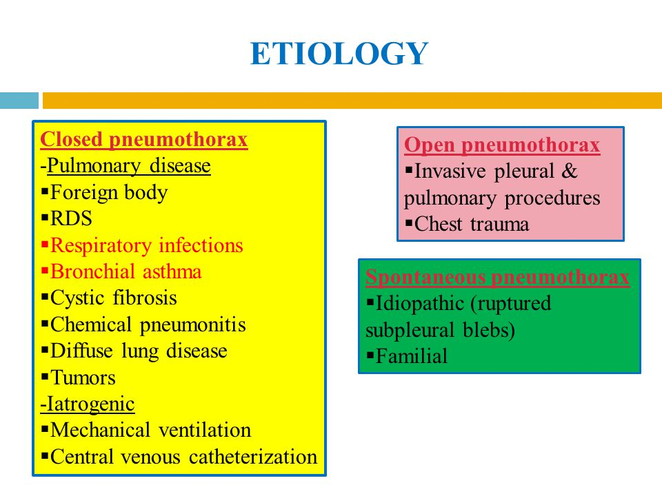 ETIOLOGY Closed pneumothorax Open pneumothorax -Pulmonary disease