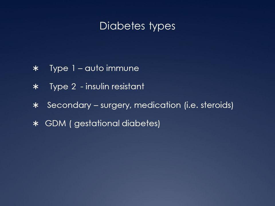 Diabetes types Type 1 – auto immune Type 2 - insulin resistant