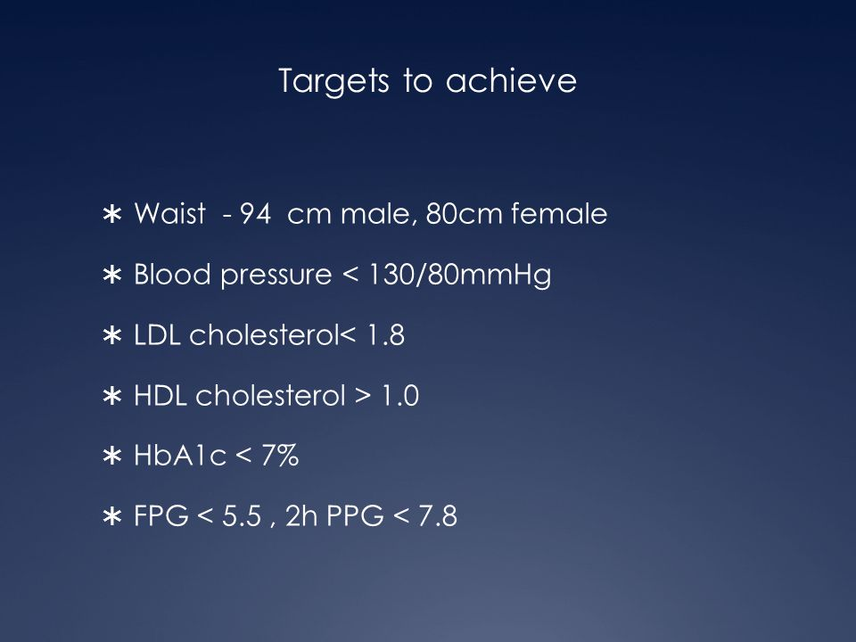 Targets to achieve Waist - 94 cm male, 80cm female