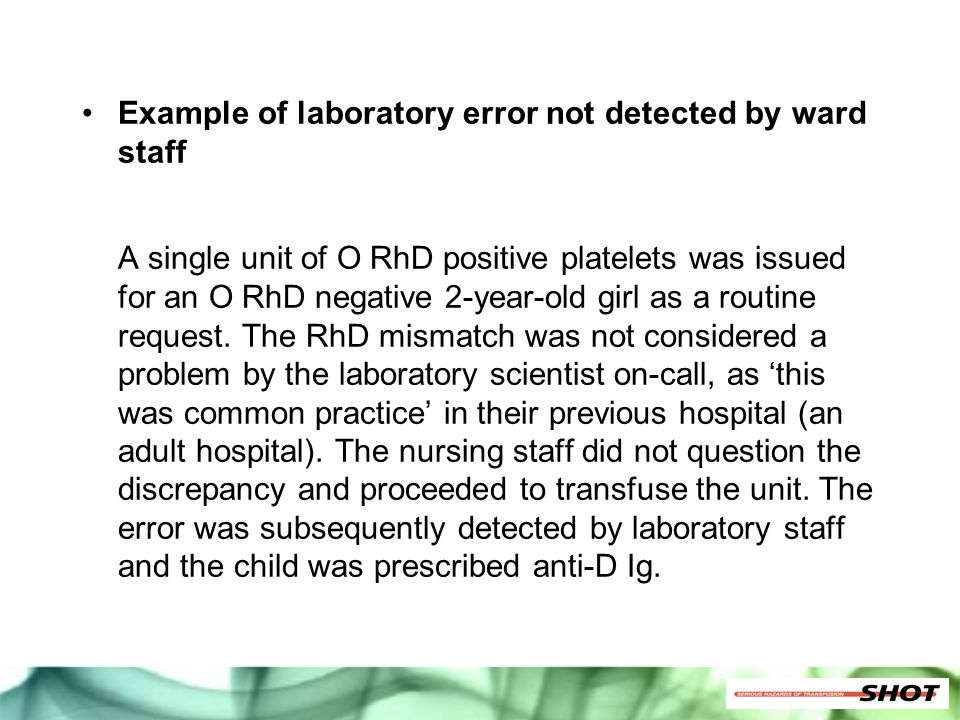Example of laboratory error not detected by ward staff
