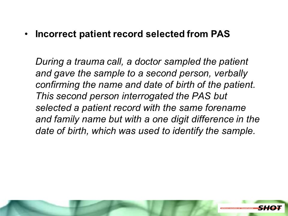 Incorrect patient record selected from PAS