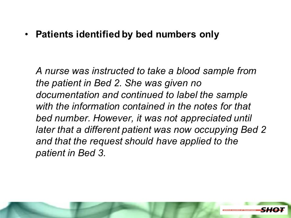 Patients identified by bed numbers only
