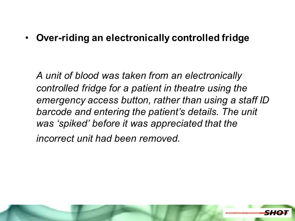 Over-riding an electronically controlled fridge