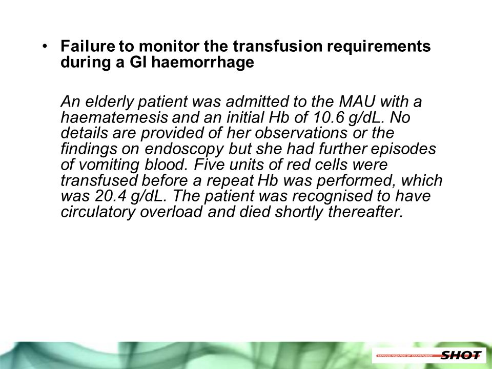 Failure to monitor the transfusion requirements during a GI haemorrhage