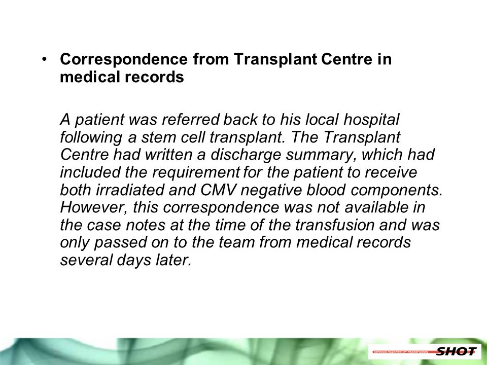 Correspondence from Transplant Centre in medical records