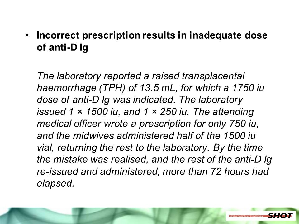 Incorrect prescription results in inadequate dose of anti-D Ig