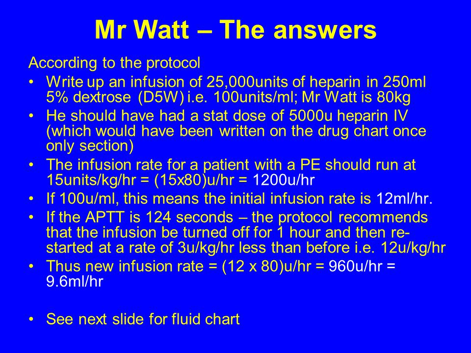 Mr Watt – The answers According to the protocol