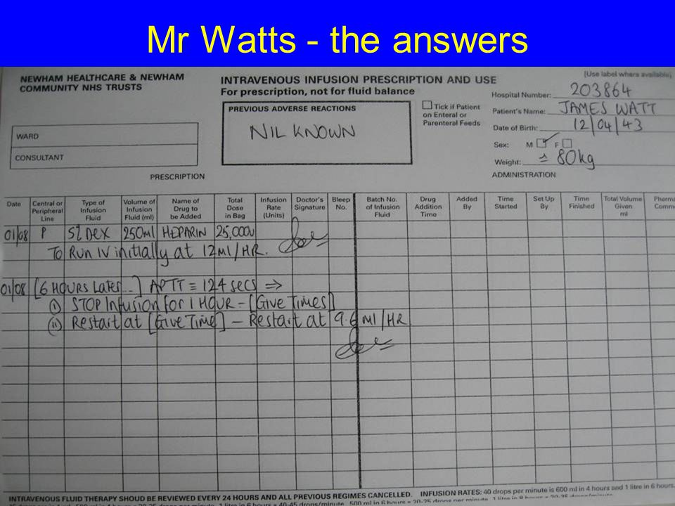 Mr Watts - the answers